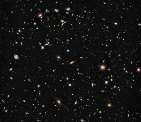 Hubble ultra-deep field image in infrared light.