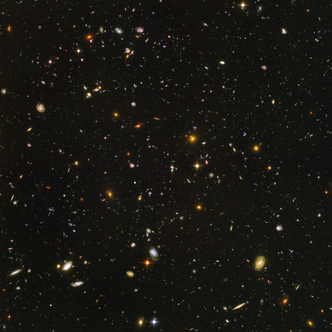 Hubble ultra-deep field image in visible light.